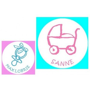 Ronde baby naamstickers - wit